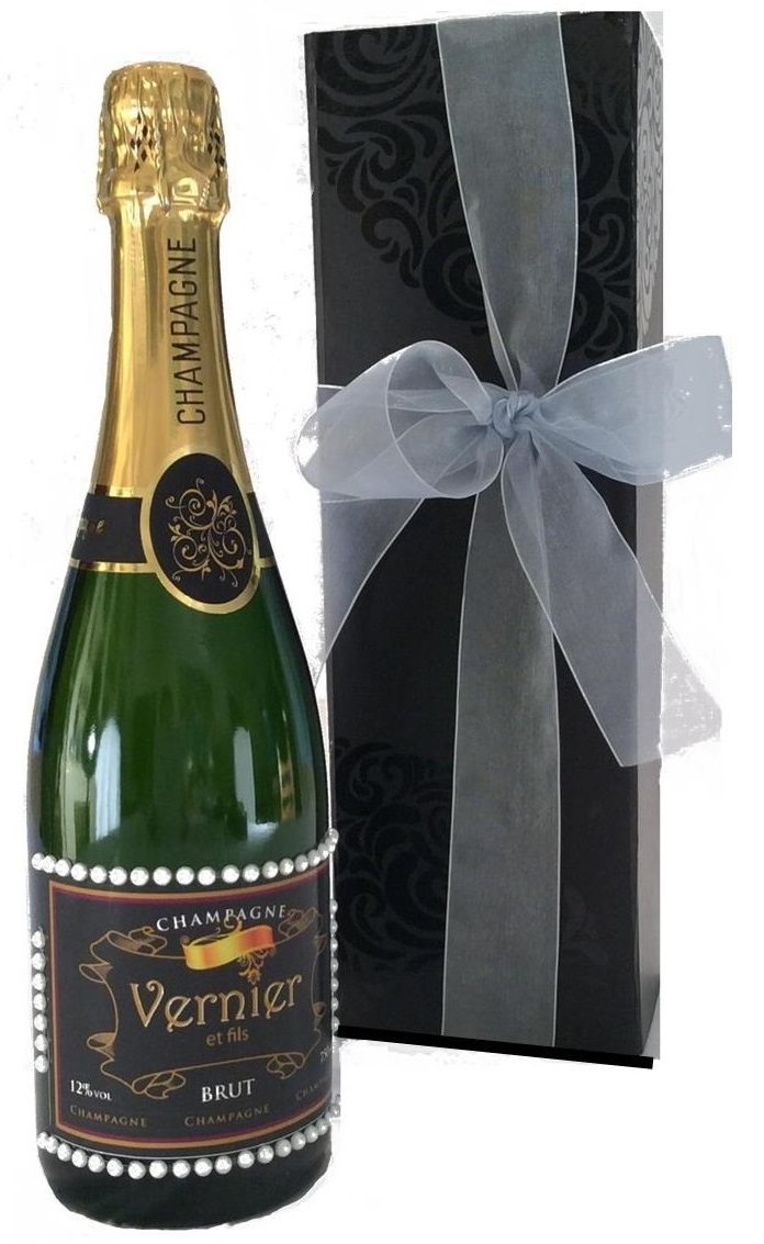 Personalised Champagne With Pearl Gems In Black Presentation Box
