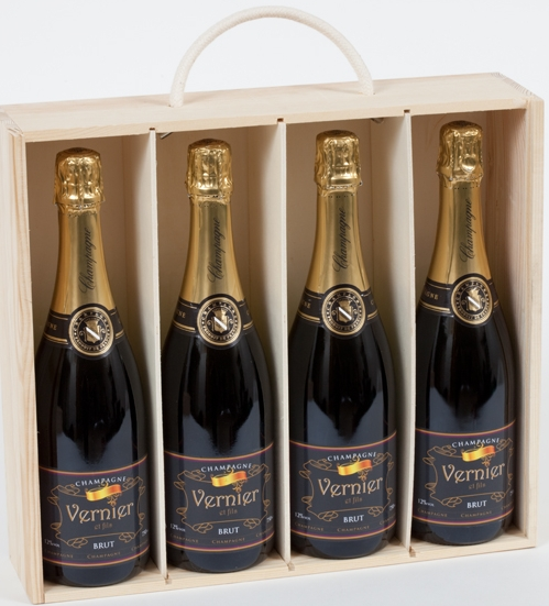 Four Bottles Of Personalised Christmas Champagne In A Wooden Box