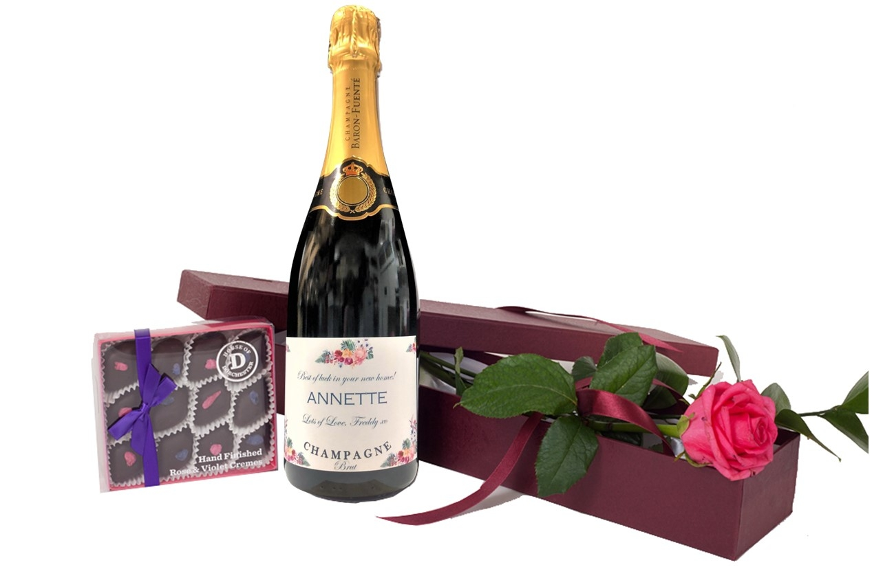 """""""Special Moments"""" - Personalised Prosecco & Fresh  Pink Rose With..."""
