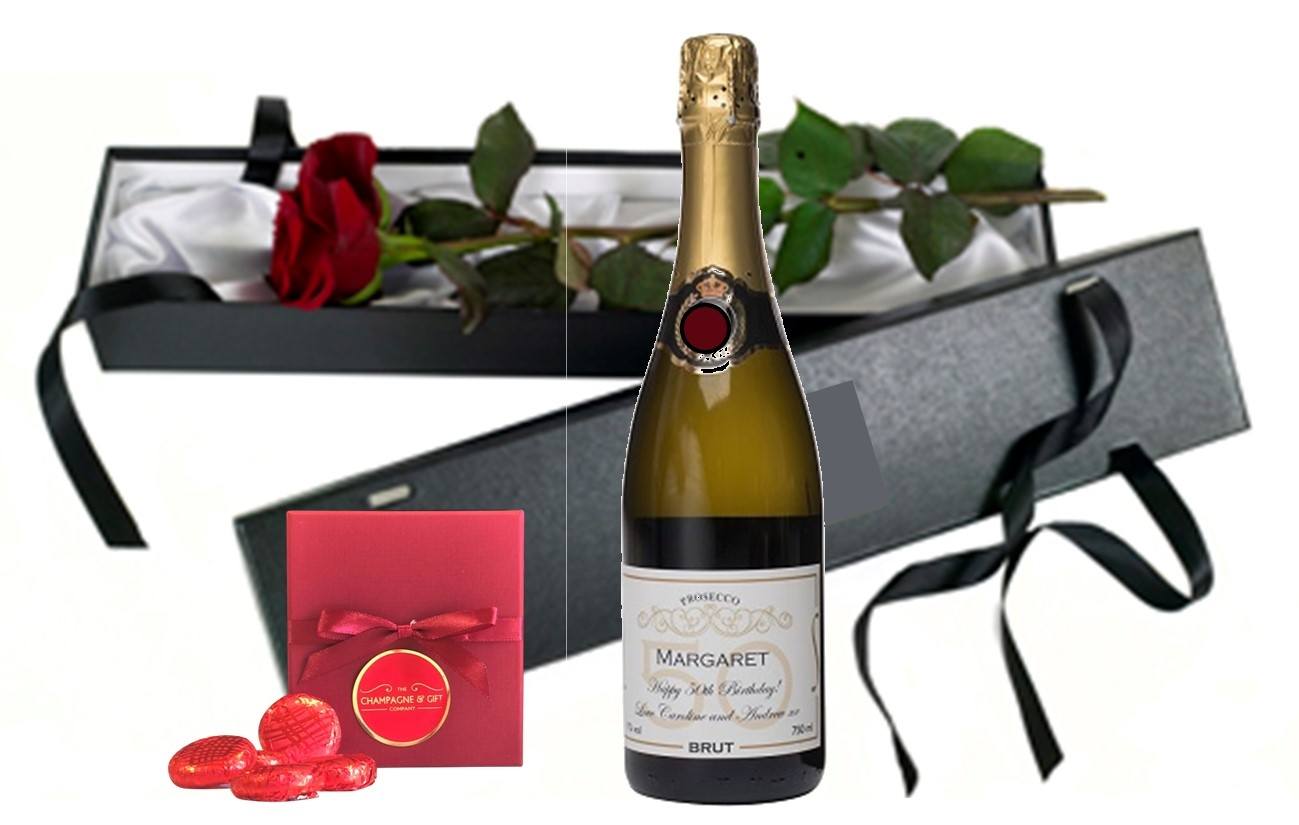 """Charmingly Fragrant""  Personalised Champagne & Fresh Red Rose -..."