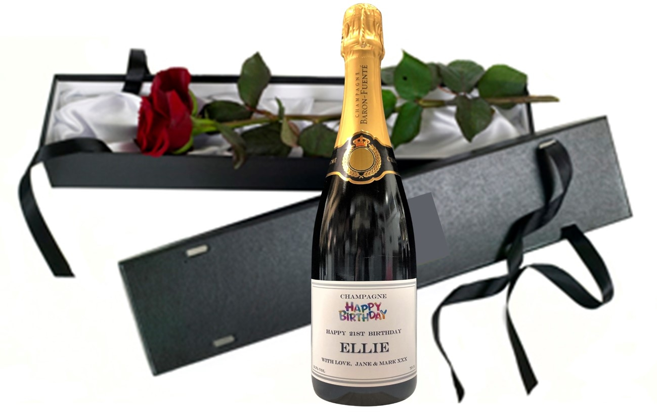"""""""Sweet Imaginations"""" - Personalised Champagne & Fresh Red Rose..."""