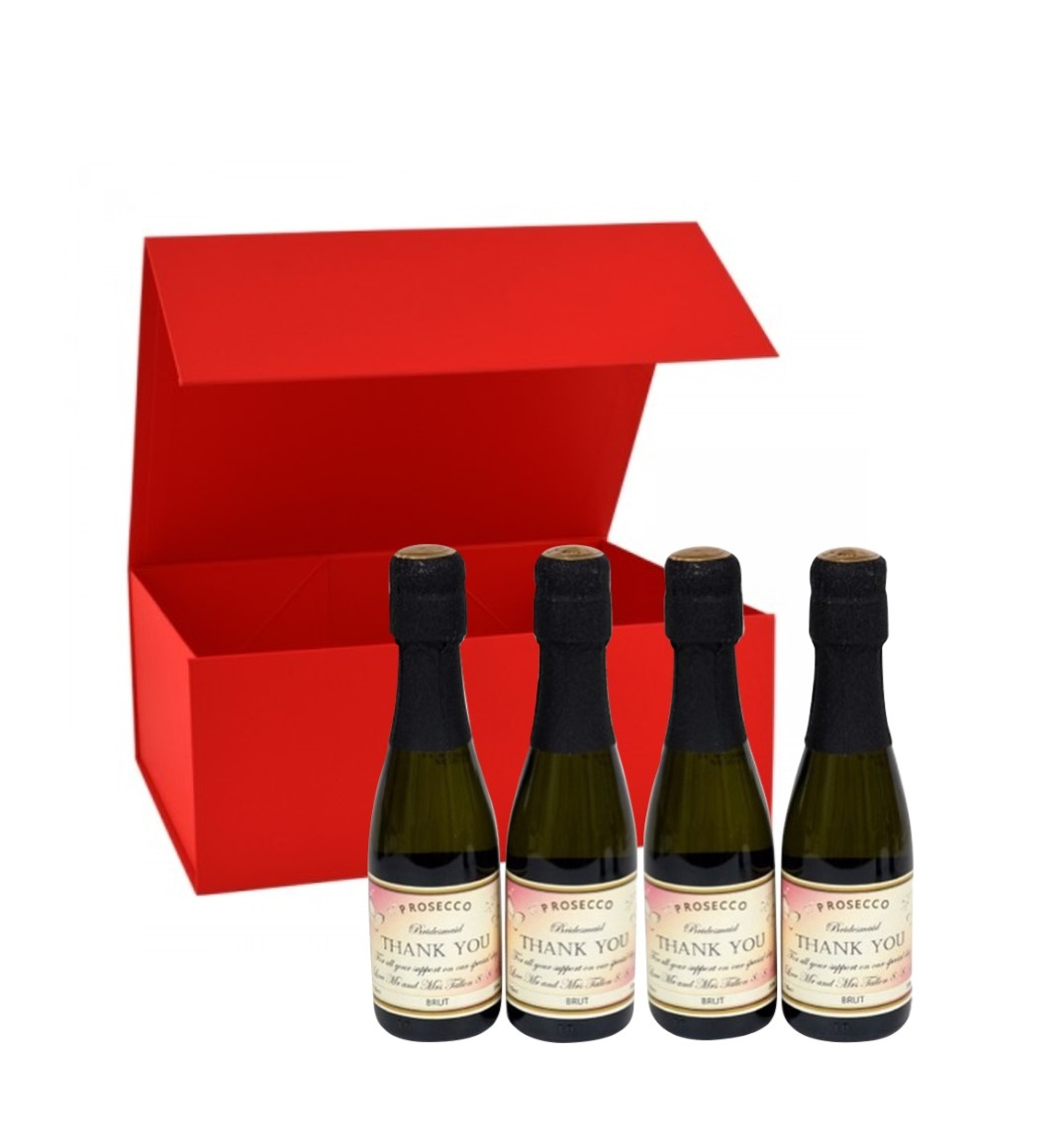 'Georgie Red' Mini Personalised Prosecco - 4 Bottle Gift Box