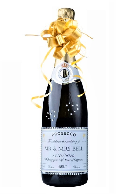 "Personalised Prosecco With Crystal Gems -  ""Glitz & Glam"""