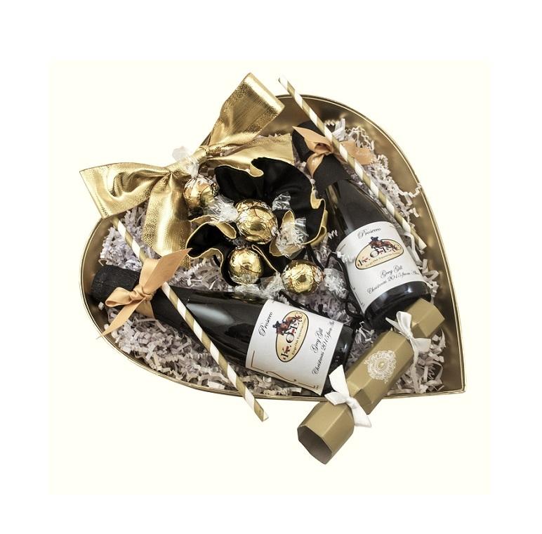 Luxury Miniature Prosecco And Truffles Treat Heart