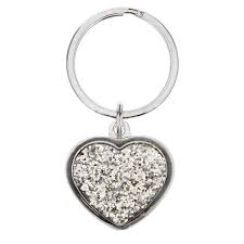 Silver Heart Keyring With Diamante Front