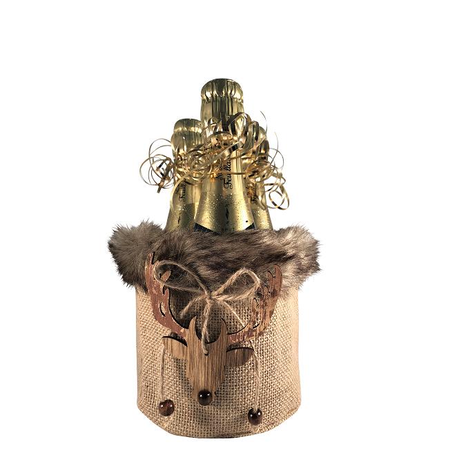 """Charmant"" - Faux Fur Mini Champagne Gift Set"
