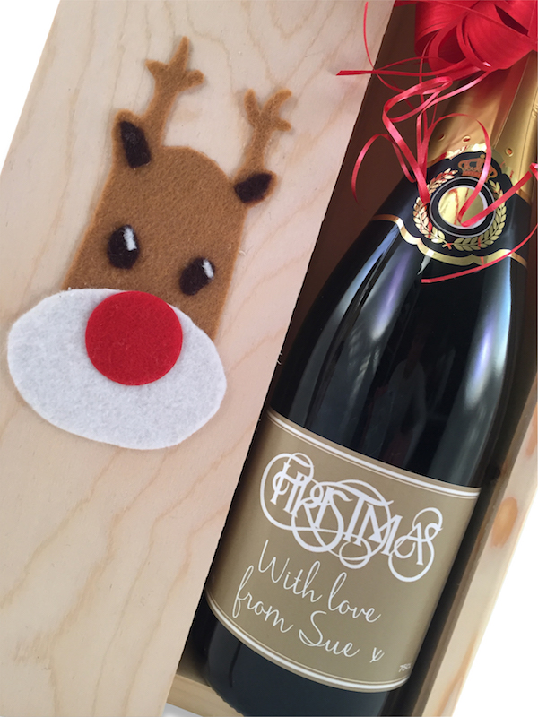Rudolph Christmas Wooden Presentation Box Of Personalised Champagne