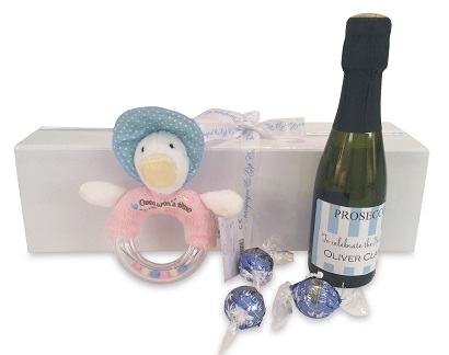 """Welcome New Baby Boy"" Miniature Personalised Prosecco Gift  -..."