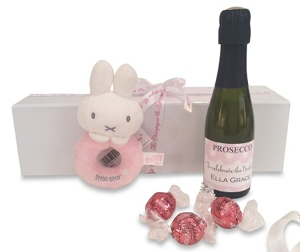 """Welcome New Baby Girl"" Miniature Personalised Prosecco Gift  -..."