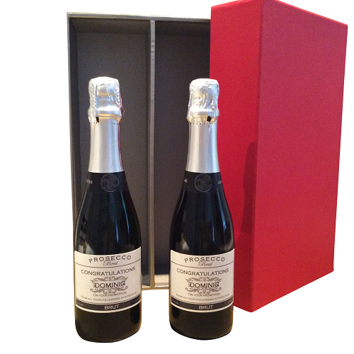 Duo Of Personalised Prosecco Half Bottles - Presented In Smart Red...