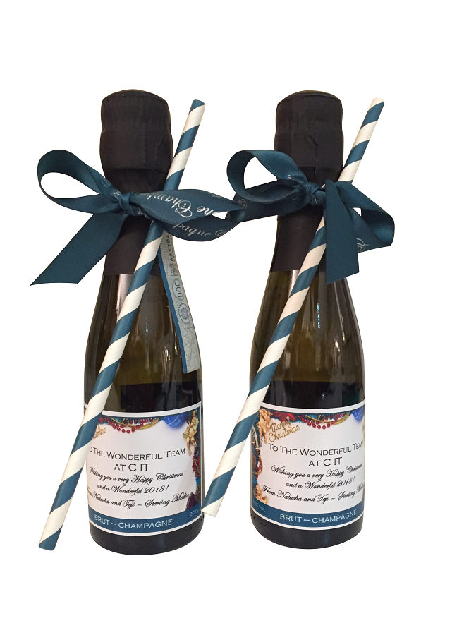 2 X Miniature Bottles Of Personalised Prosecco - Complete With...
