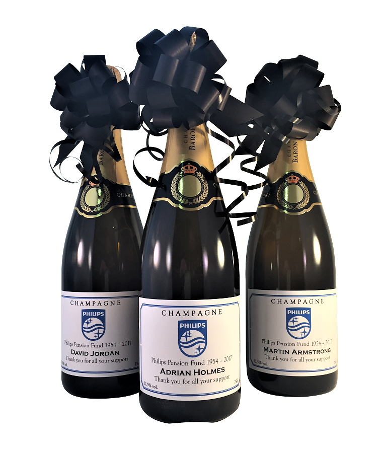 3 X Corporate Branded Champagne Bottles