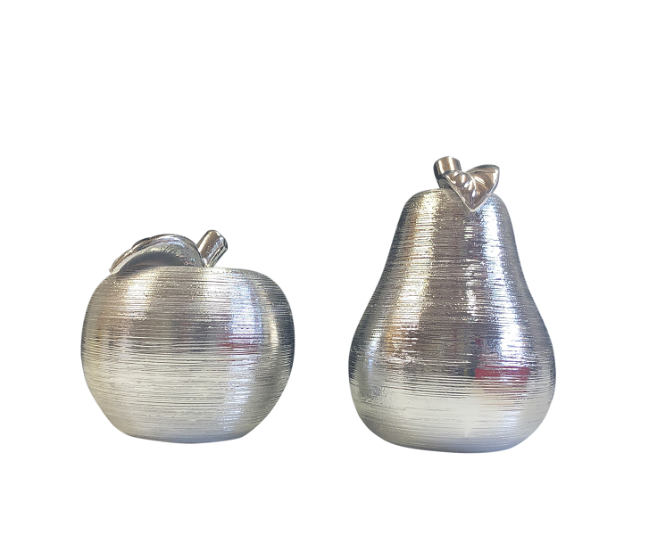 Silver Textured Apple & Pear Set