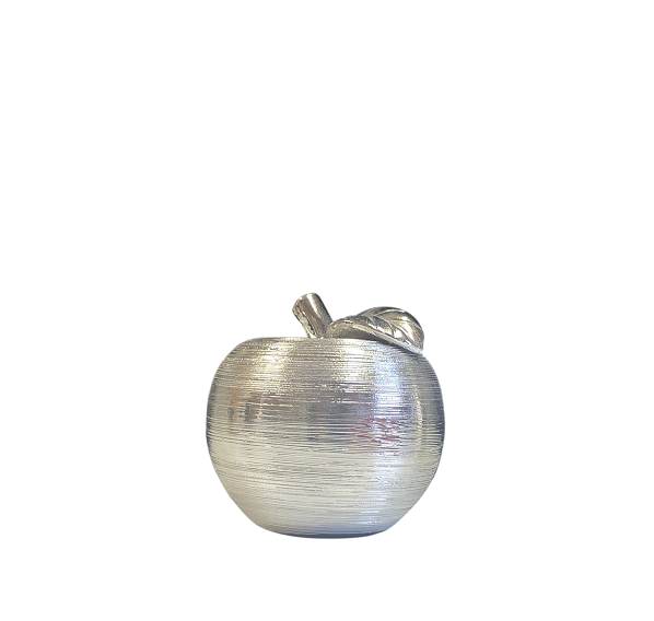 Silver Textured Apple Ornament