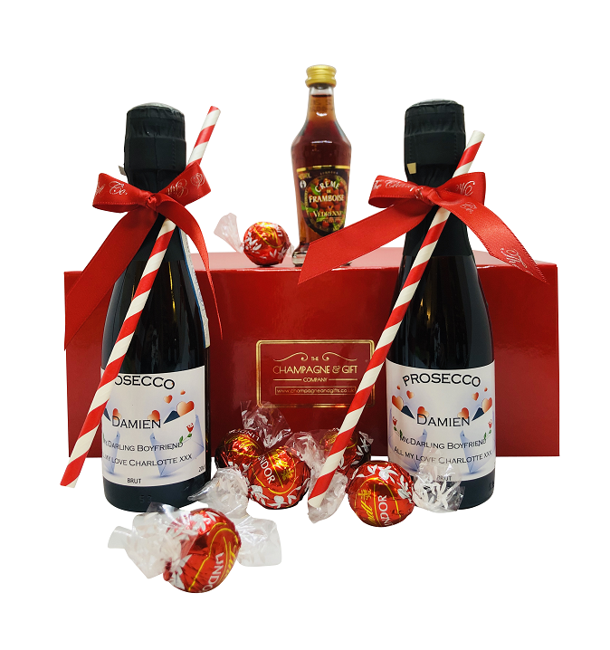 "'Relais"" Mini Personalised Prosecco Red Hamper"