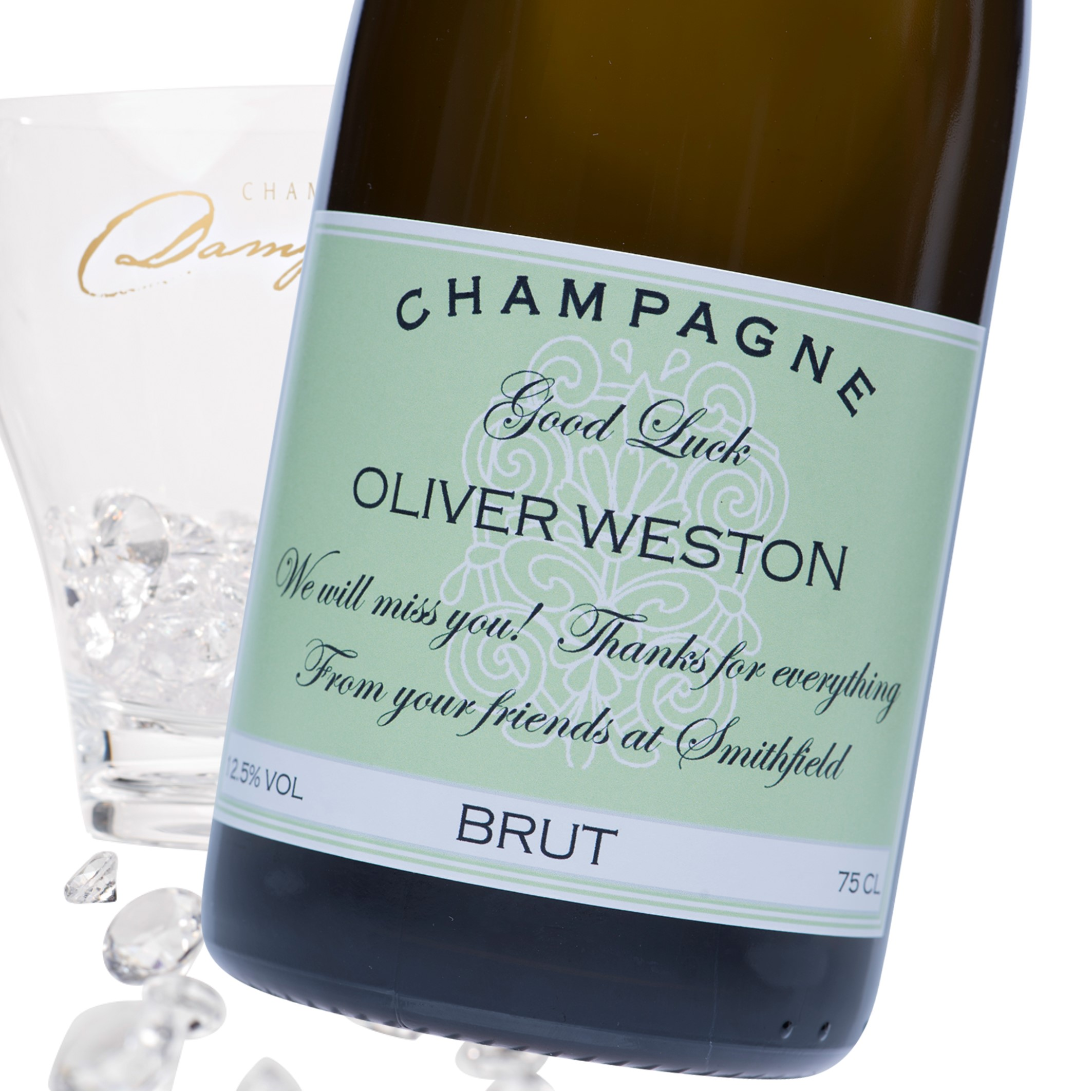 """Luxury Grande Reserve Champagne - """"Good Luck"""" Label"""