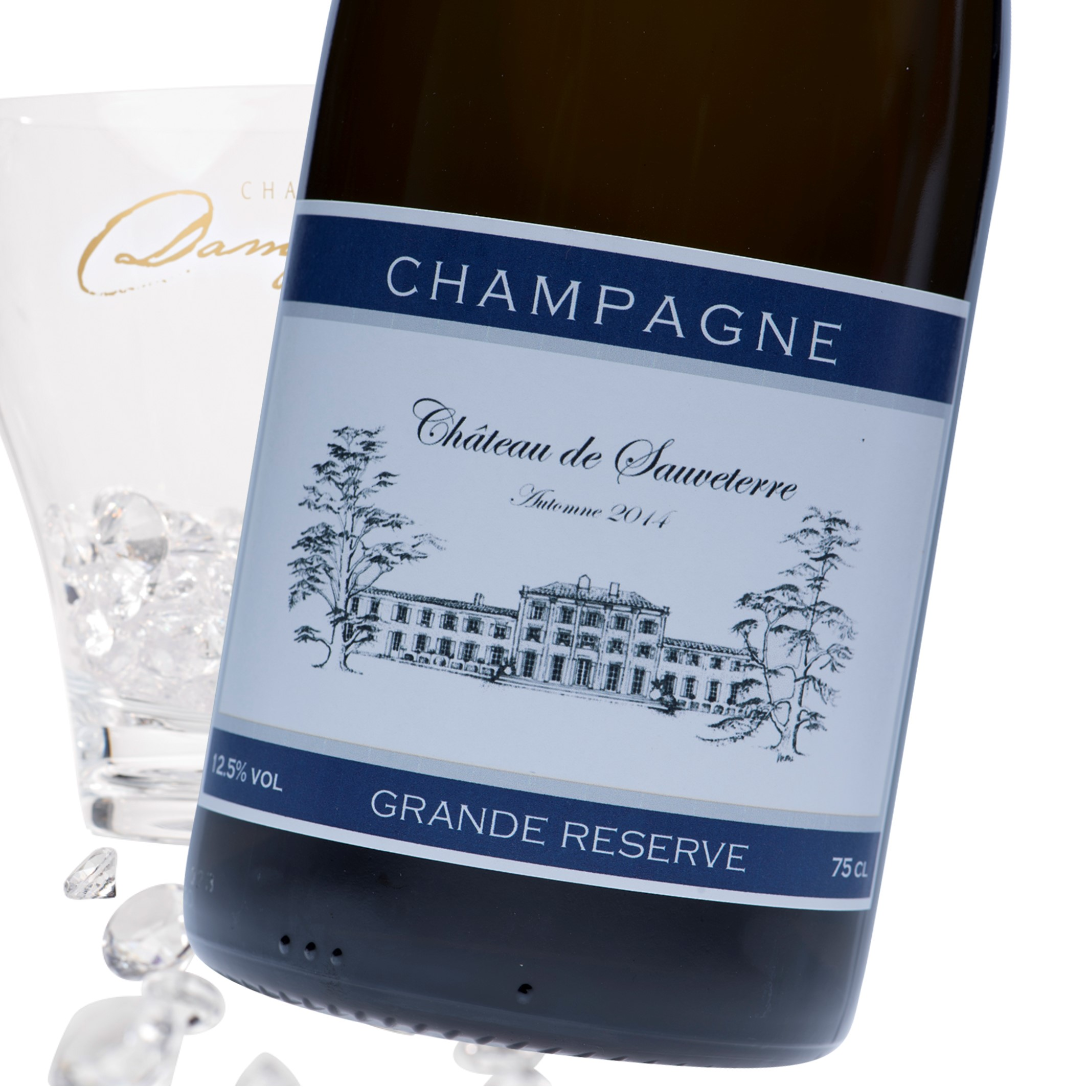 "Luxury Grande Reserve Champagne - ""Navy"" Photo Label"