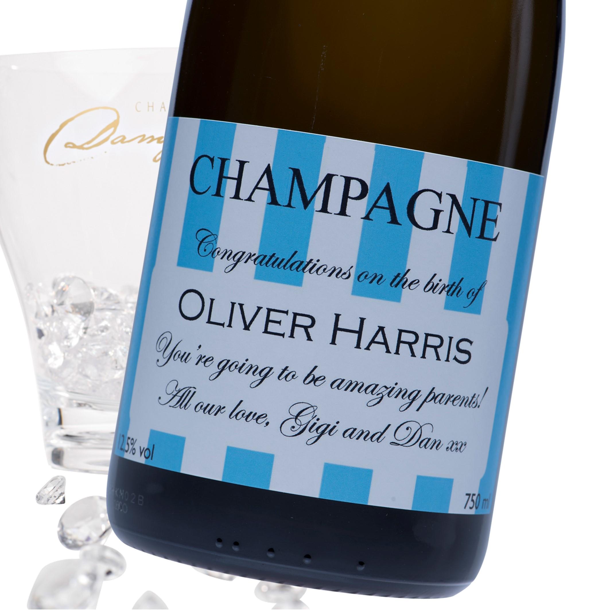 "Luxury Grande Reserve Champagne - ""Stripes"" Blue Baby Label"