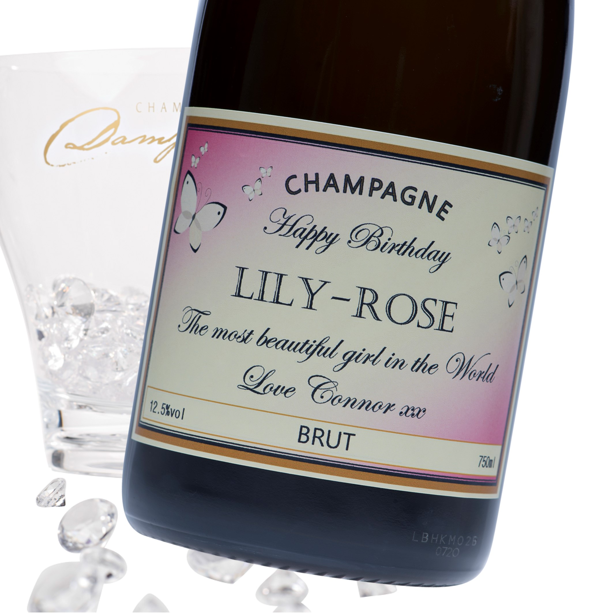 """Luxury Grande Reserve Champagne - """"Pink Butterfly"""" Label"""