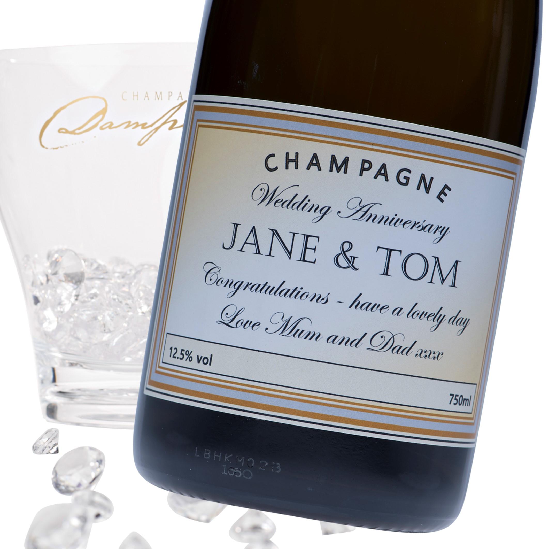 "Luxury Grande Reserve Champagne - ""Wedding Anniversary Gold &..."