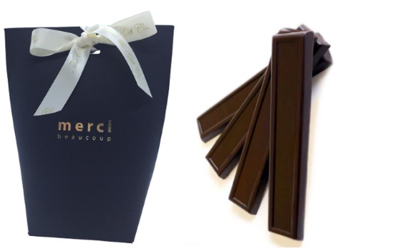 Black Merci Gift Bag With Chocolate Batons