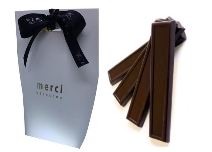 White Merci Gift Bag With Chocolate Batons