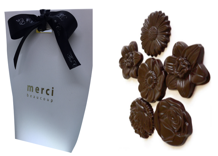 White Merci Gift Bag With Chocolate Flowers