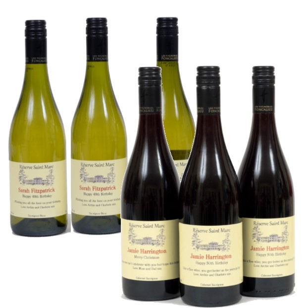 Mixed Case Personalised Red  & White Wine - (6 Bottles) South Of...