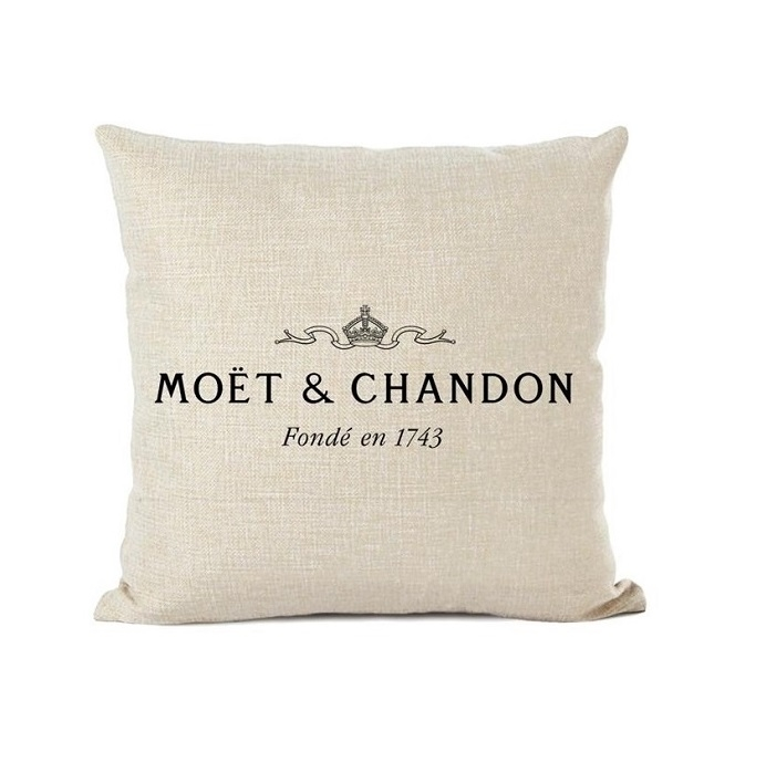 """Moet Et Chandon Style"" Luxury Statement Cushion - Cream Linen"