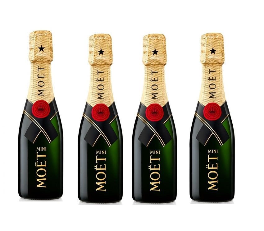 4 X Miniature Moet & Chandon Champagne - Personalised