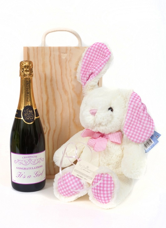 """It's A Girl"" Personalised Champagne And Bunny Gift"