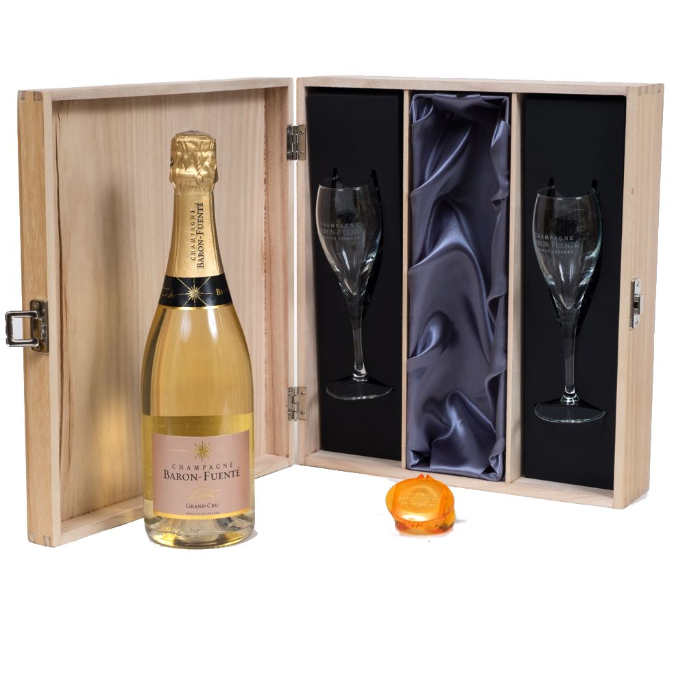 Personalised Grand Cru Champagne Gift Set With Signature Flutes In...
