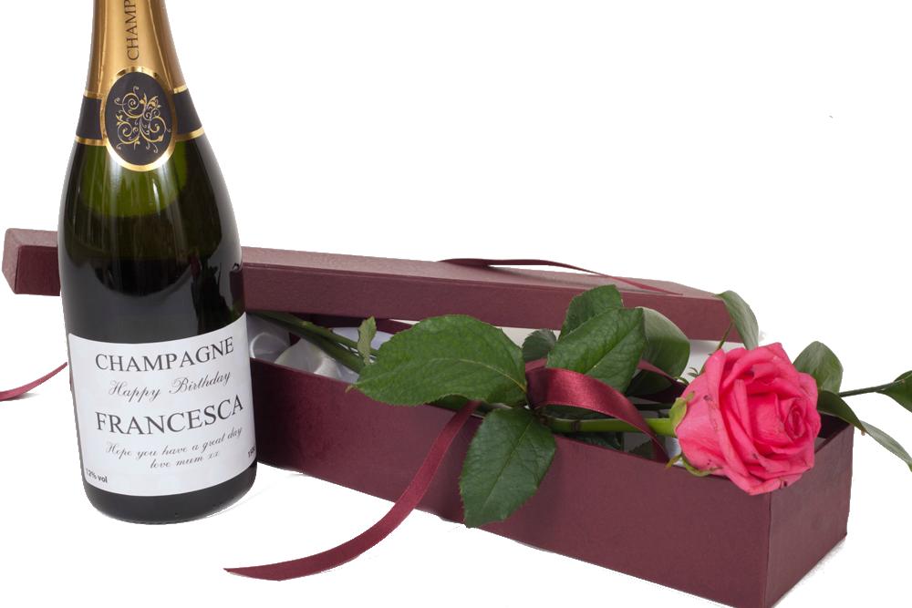 """""""Making Memories"""" - Personalised Champagne & Fresh Pink Rose Gift Set"""