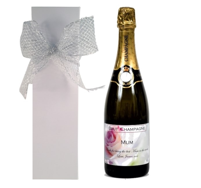 Personalised Champagne In White Presentation Box
