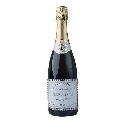 """Personalised Champagne With Crystal Gems - """"Hint Of Glitz"""""""