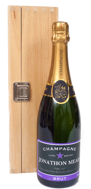 Personalised Champagne In Wooden Hinged Presentation Box