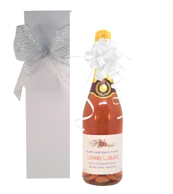 Personalised Non Alcoholic Pink Sparkling - In A White...