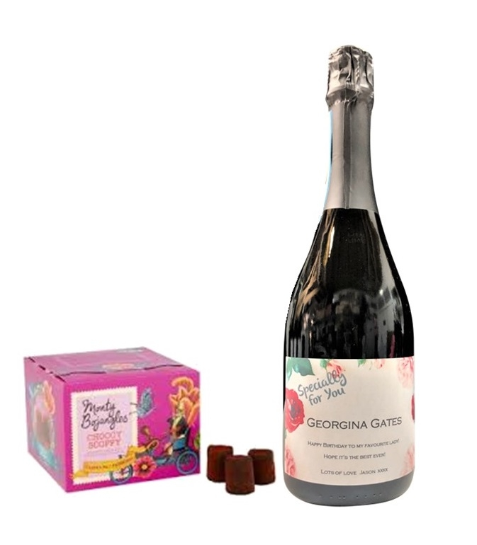 Personalised Prosecco & Luxury Pink Champagne Truffle Gift
