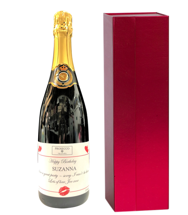 Personalised Prosecco In Red Presentation Box