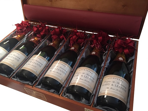 Personalised Champagne Gift Set - Luxury Silk Lined Case Of Six