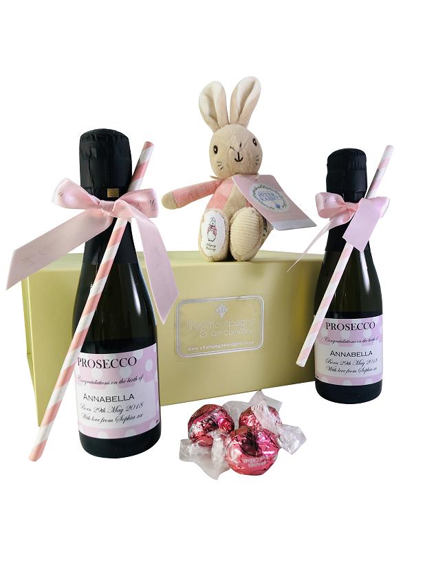 """Peter Rabbit Pink"" Personalised New Baby Gift Hamper - Mini..."