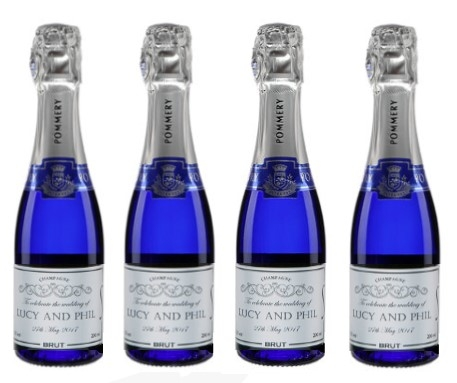 4 Personalised Mini Champagne  - Blue Pommery POP