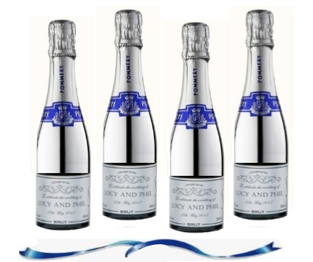 4 Personalised Mini Champagne  - Silver Pommery POP