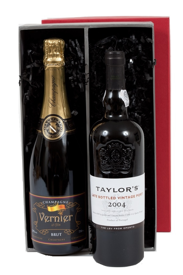 Duo Of Corporate Branded Champagne And Late Bottled Vintage Port...