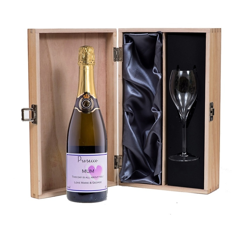 Personalised Prosecco With Marne Flute In A Silk Lined Wooden...