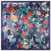 Design Luxury Silk Scarf - Colourful Flowers