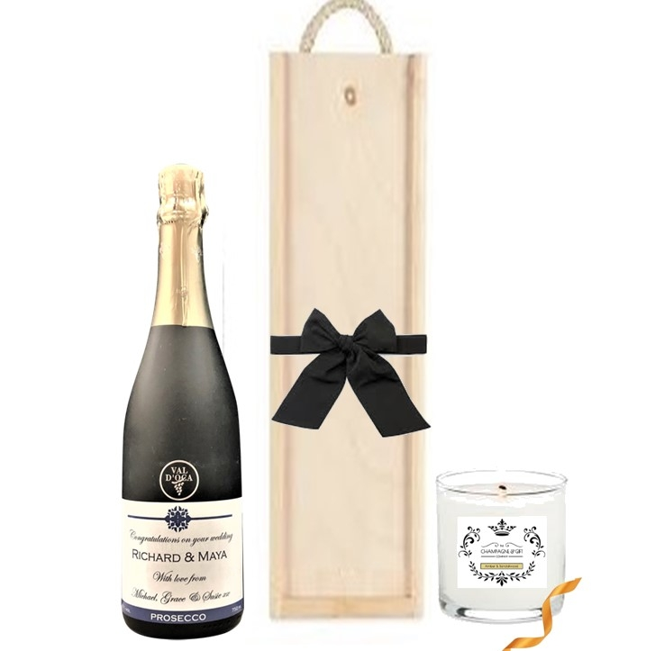 """""""Sloane""""  Personalised Vintage Prosecco  & Scented Candle -  Gift..."""