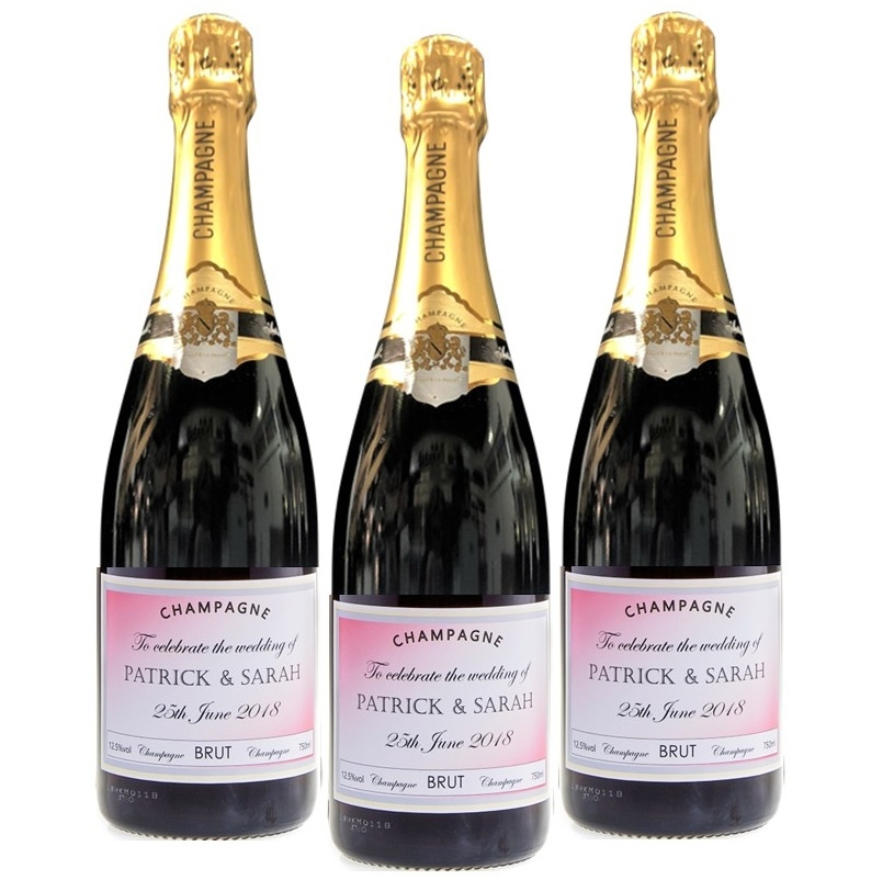 Personalised Wedding Champagne Gift X 3