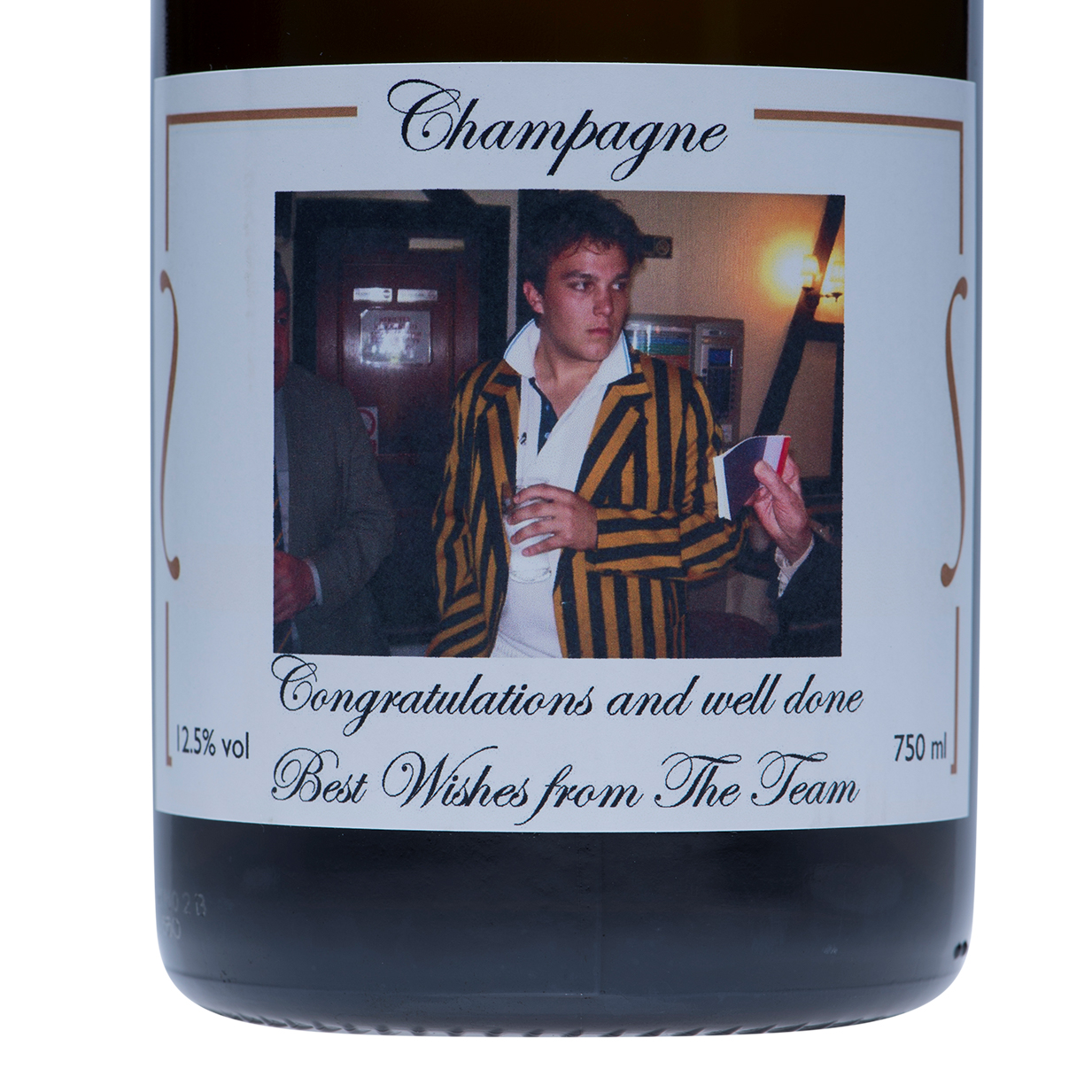 Luxury Personalised Champagne - Photo Label With Gold Swirls