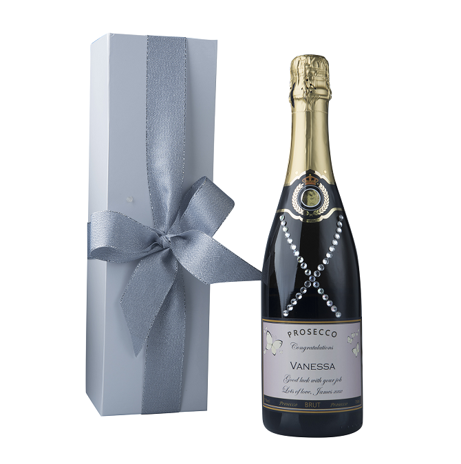 """Dazzling"" Gift Set - Personalised Prosecco With Crystal Gems"